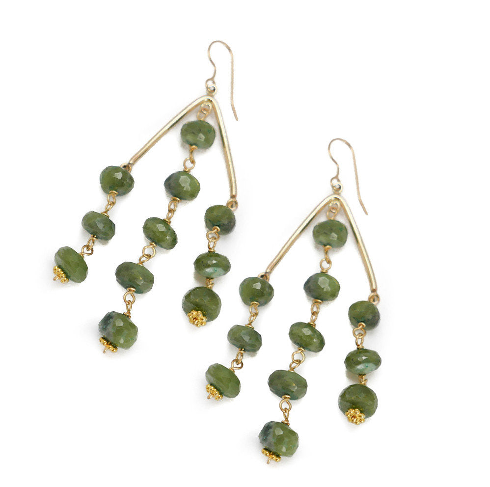 Sutton Earring, Green Garnet