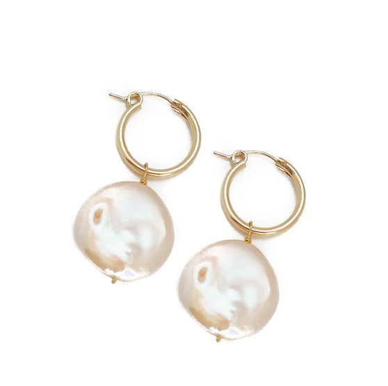 Kary Earring, Rose Coin Pearl, Small