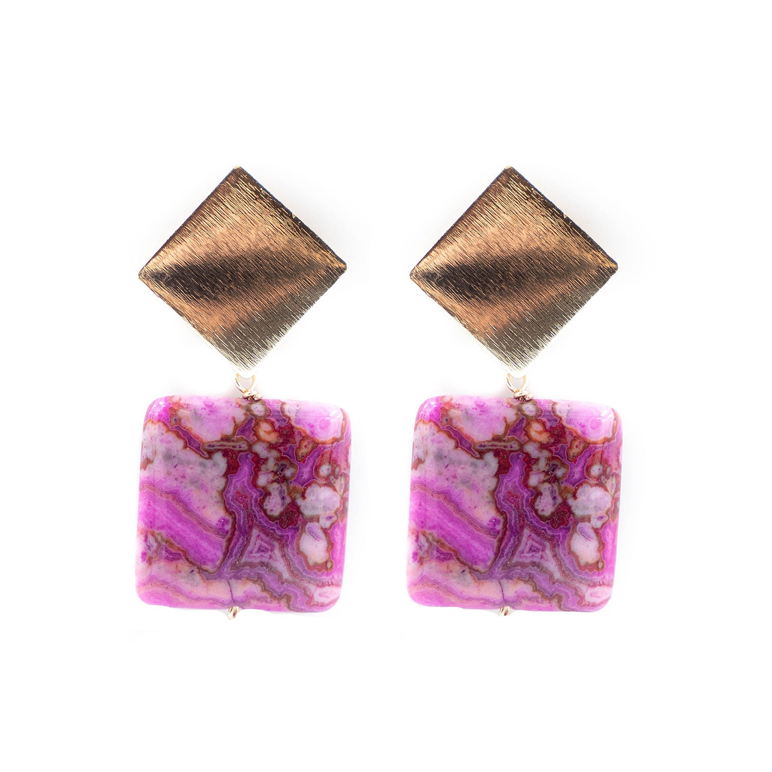 Darby Earring, Pink Agate