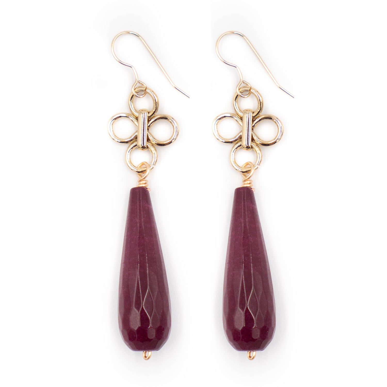 Ulla Earring, Mulberry Jade Single