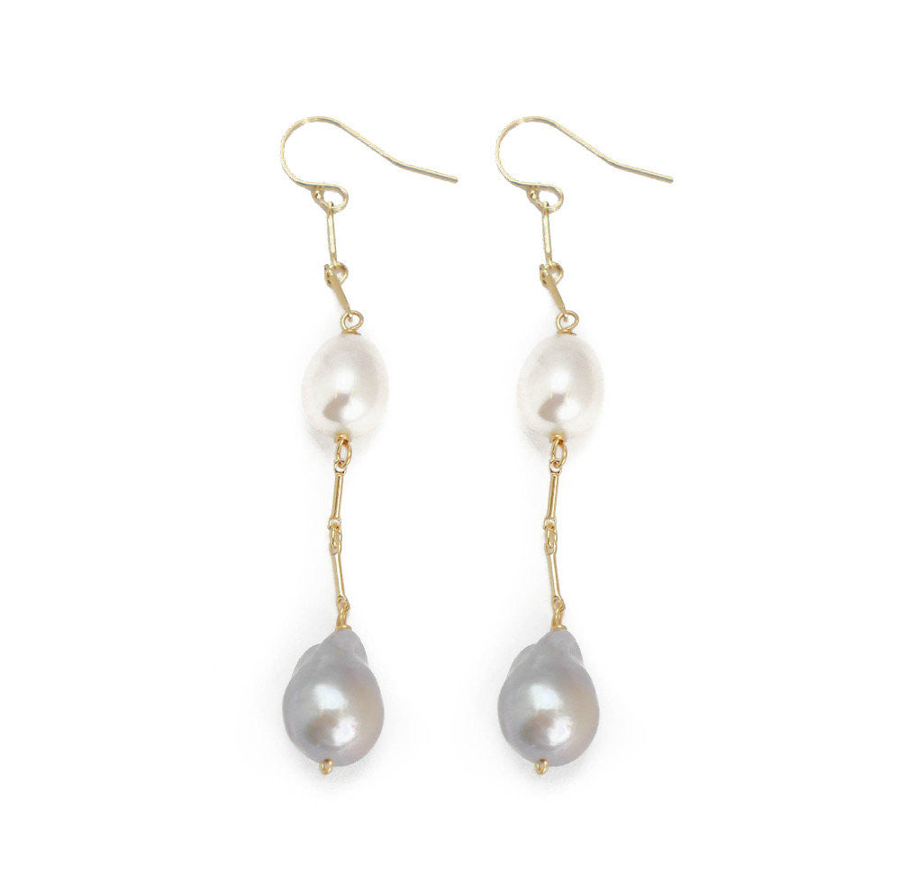Marsha Earring, White and Gray Pearl