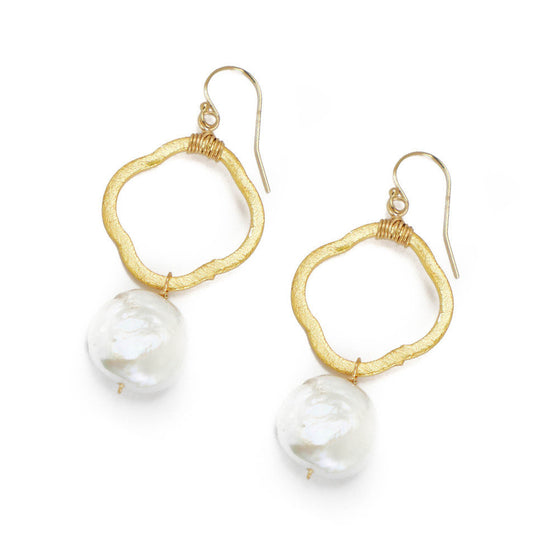 Frances Earring, White Coin Pearl
