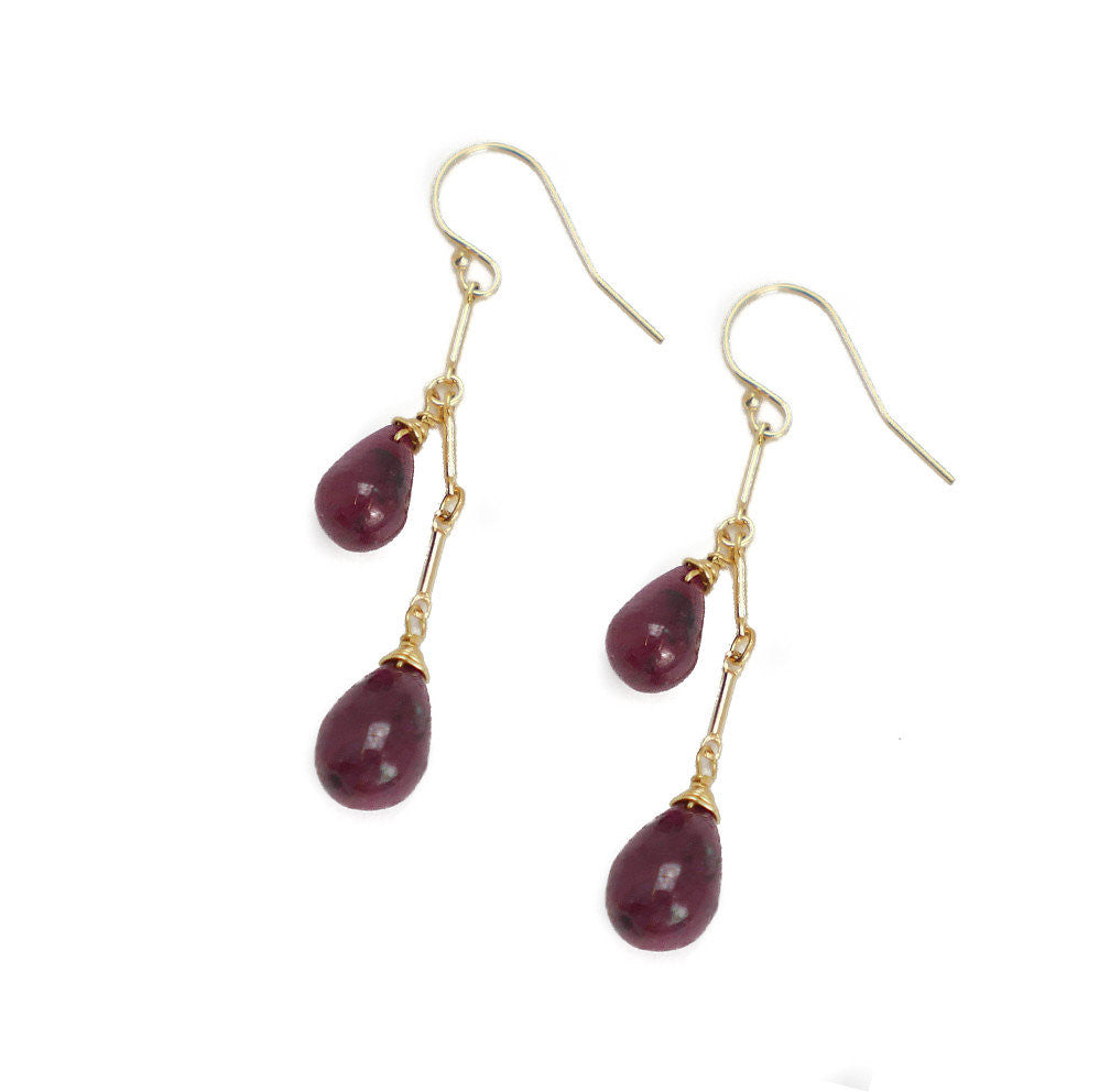 Cleo Earring, Double Ruby