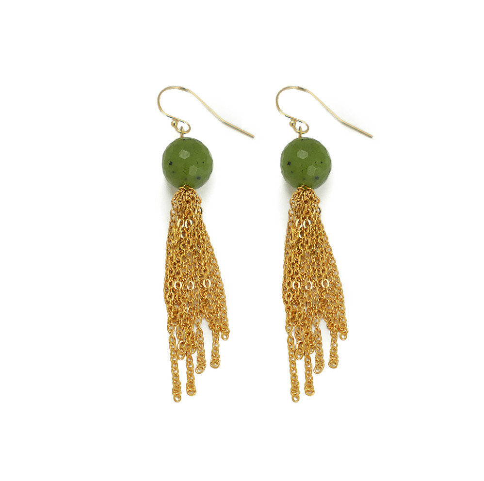 Morgan Earring, Green Garnet