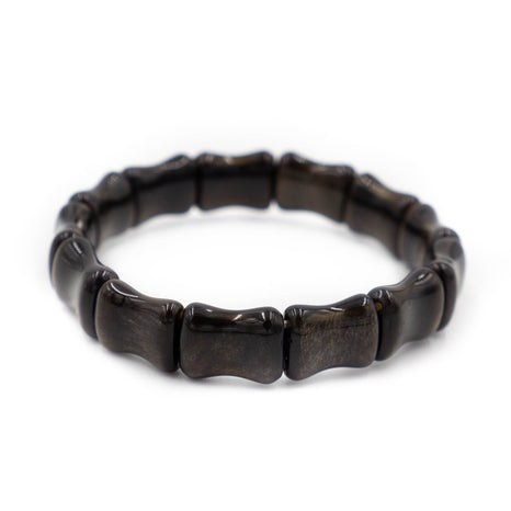 Bamboo Beach Bangle, Black Obsidian