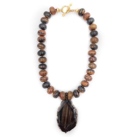 Lina Necklace, African Brown Opal