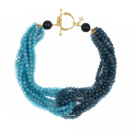 Maggie Necklace, Deep Sea and Teal Blue