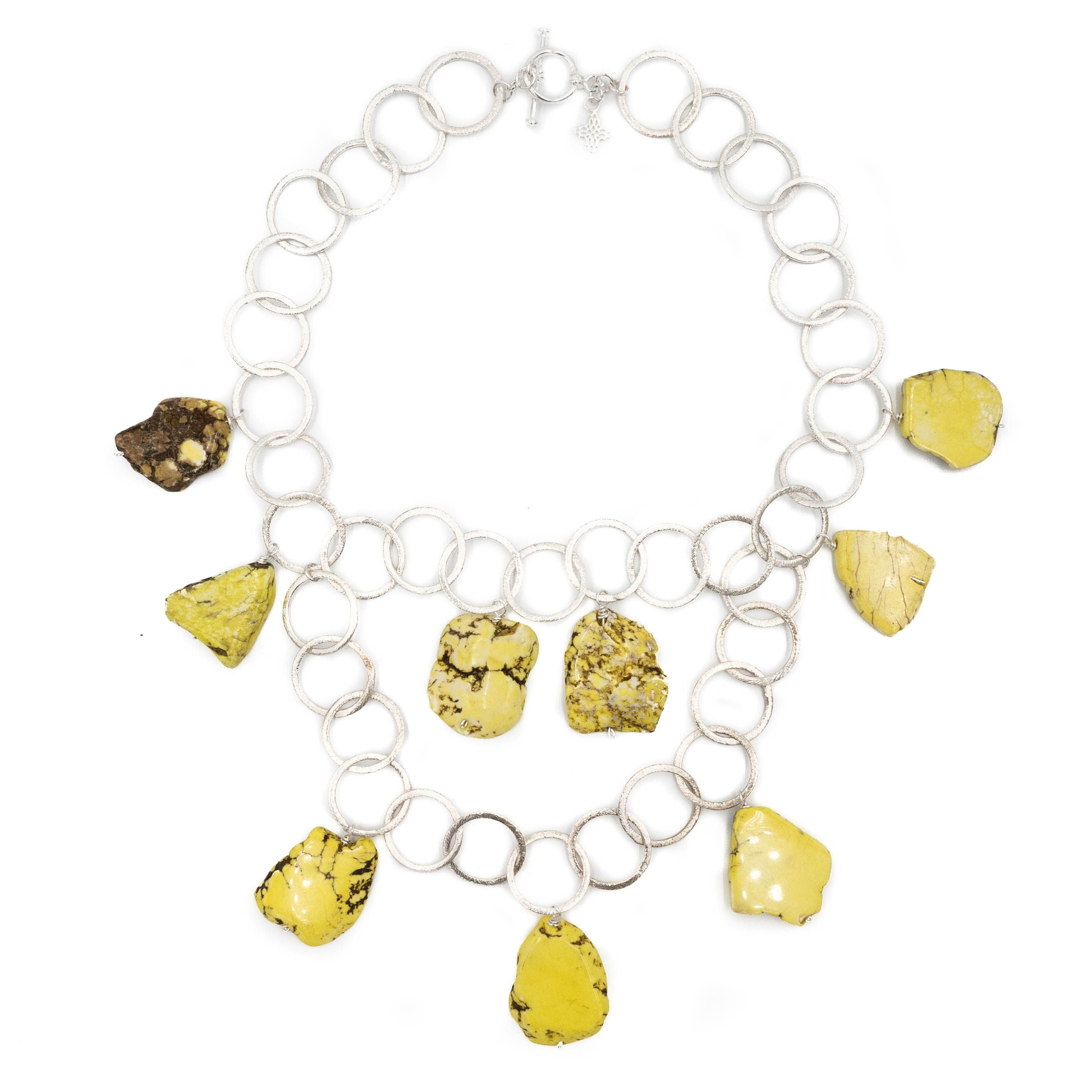 Aspen Necklace, Yellow Howlite, Silver