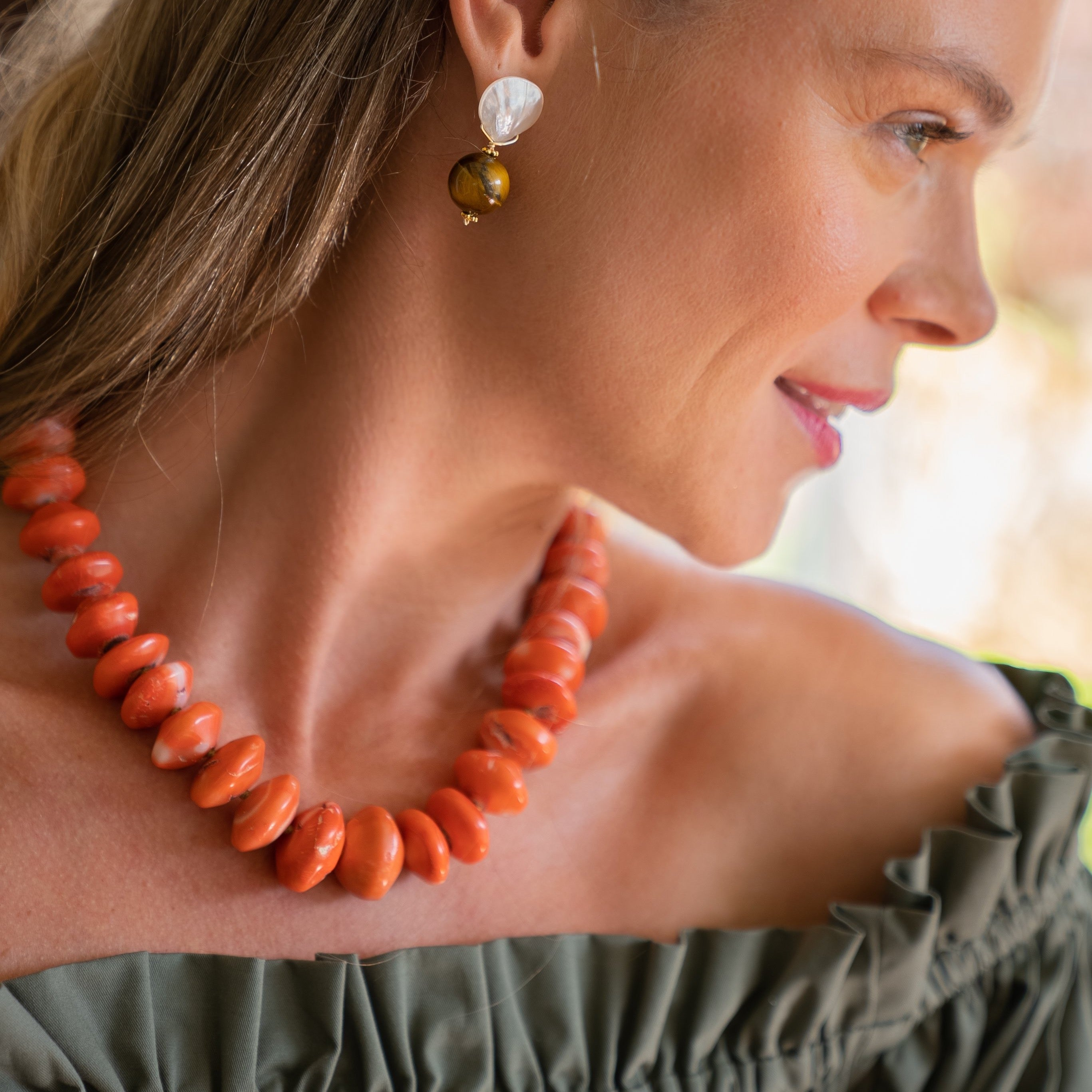 Tatum Necklace, Coral