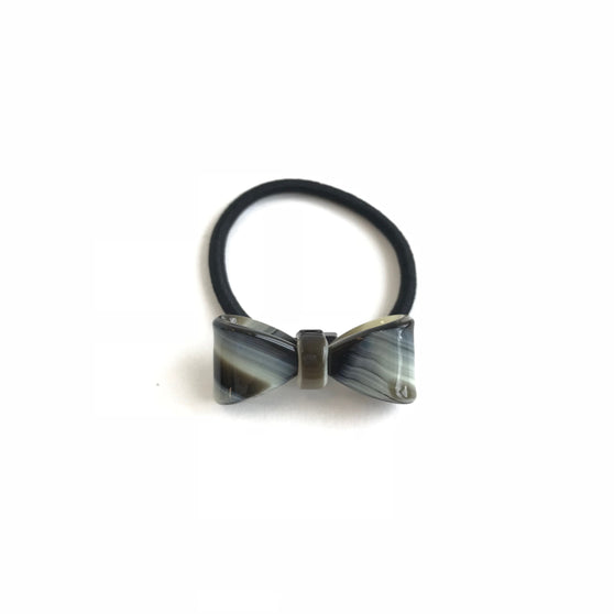 Black and Gray Tortoise Bow Hair-Tie