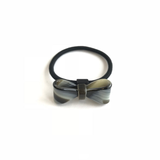 Black and Grey Tortoise Bow Hair-Tie