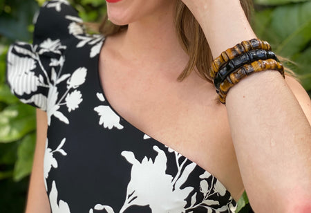 Bamboo Beach Bangle, Black Onyx