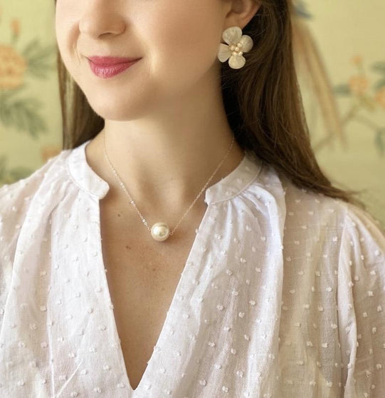 Augusta Pearl Necklace, Gold