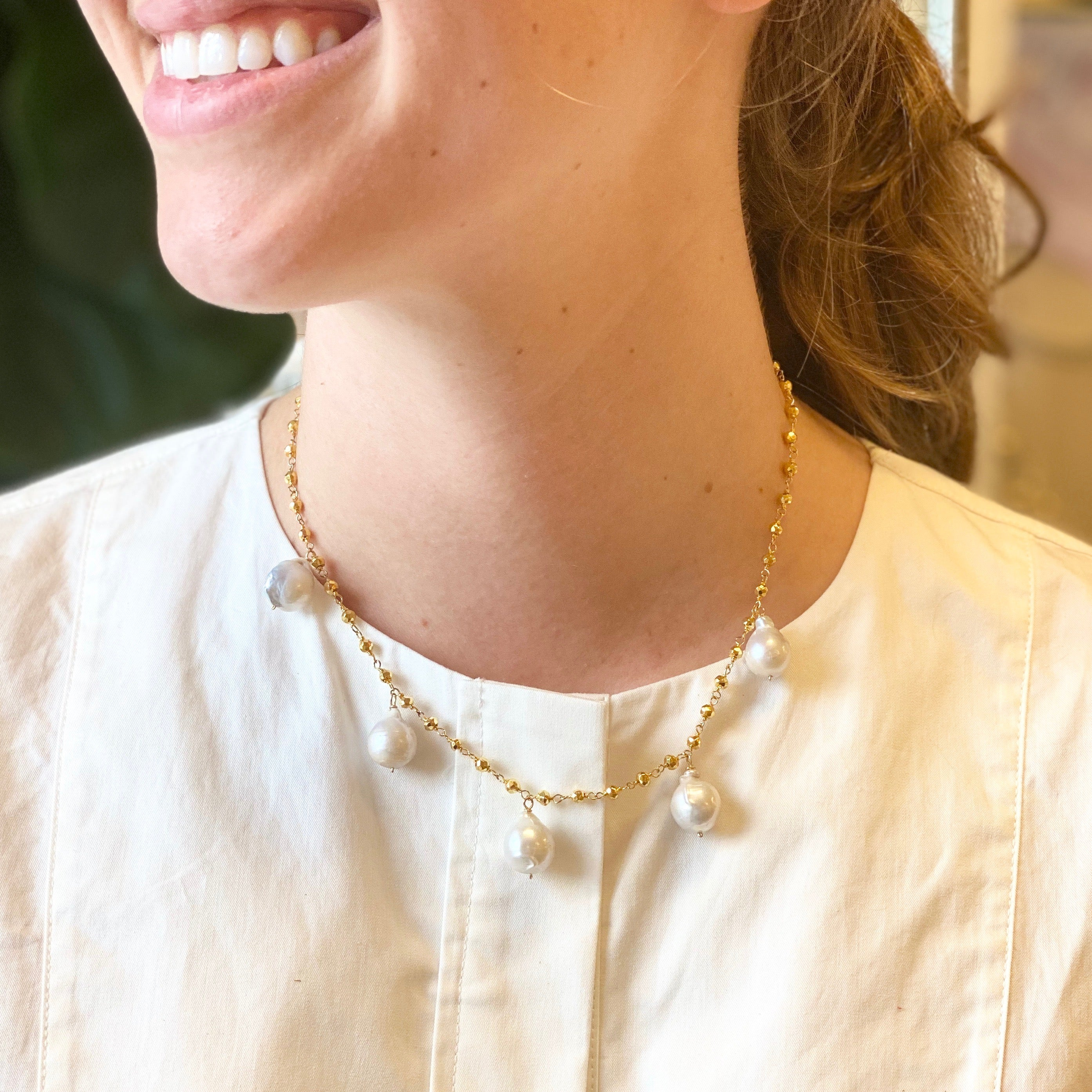 Gold and Pearl Chain Necklace