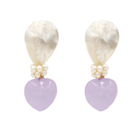 Lively Earring, Lavender Heart