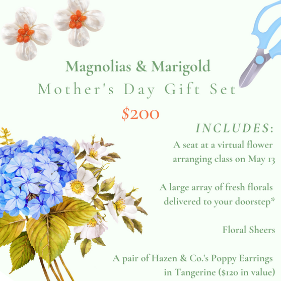 Magnolias & Marigold Mother's Day Flower Arranging Class Set