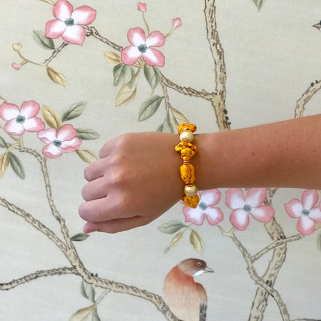 Marisol Bracelet, Orange Howlite