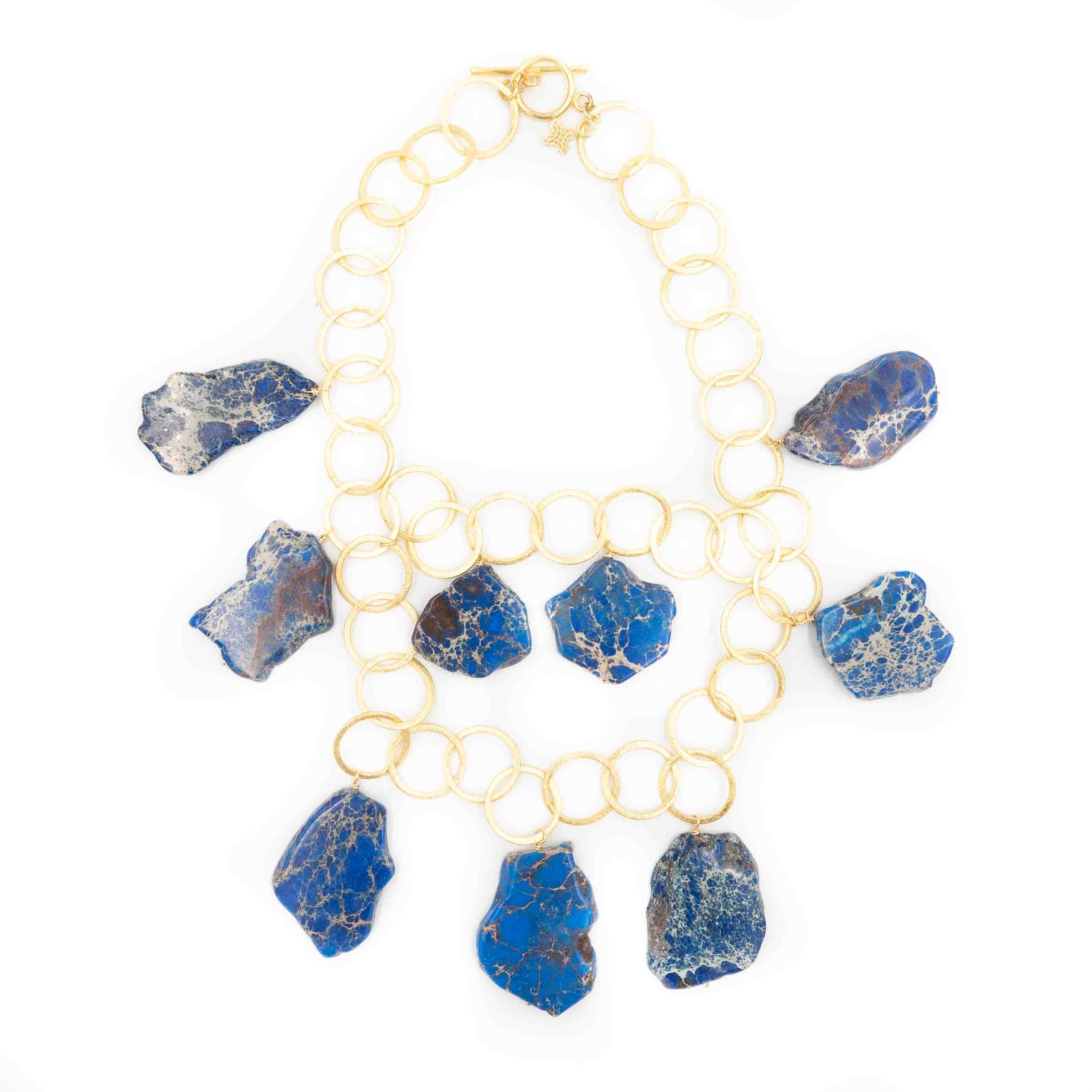Aspen Necklace, Blue Jasper
