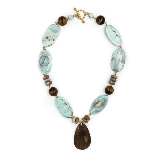 Gabby Necklace, Blue Agate