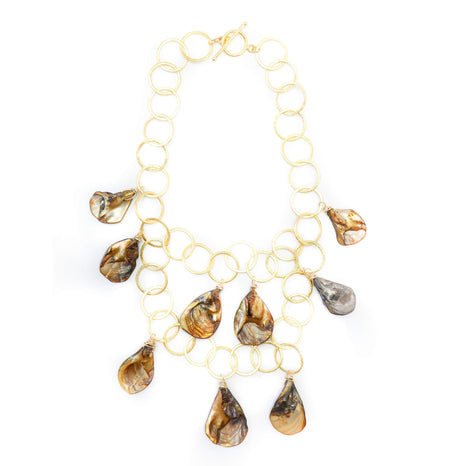 Aspen Necklace, Gold Shell