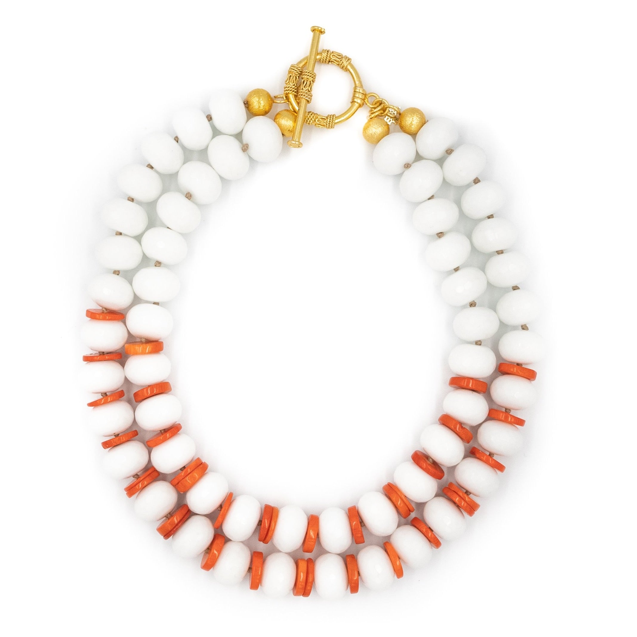 hazen & co. julia necklace white rondell porcelain stones and coral