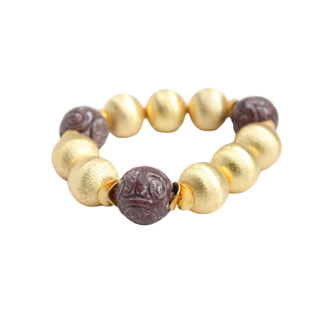 Madison Bracelet Large, Carved Brown Jade