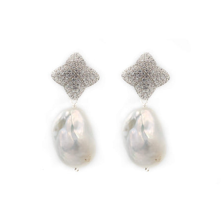 Alicia Earring Charms, Baroque Pearl, Silver