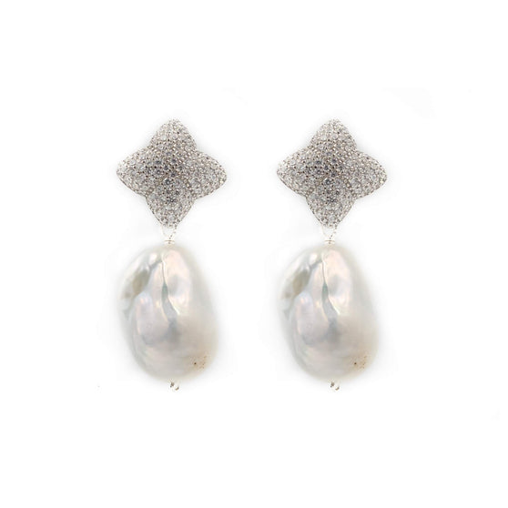 Alicia Earring, Silver with Baroque Pearl Charm