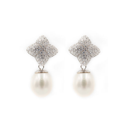 Alicia Earring, Silver with Freshwater Pearl Charm