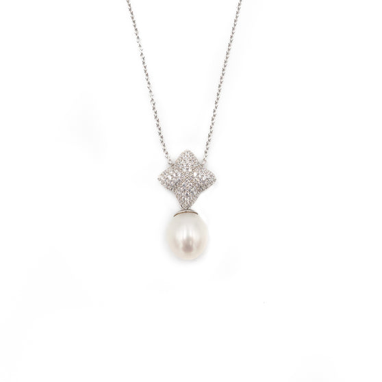Alicia Necklace, Silver with Freshwater Pearl Charm