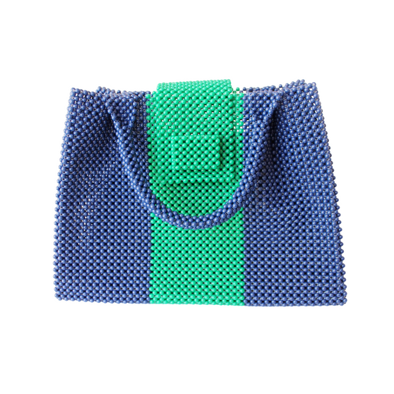 Elizabeth Handbag, Navy and Green