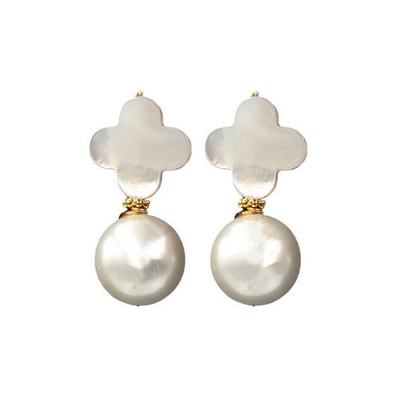 Kacey Earring, White and Pearl