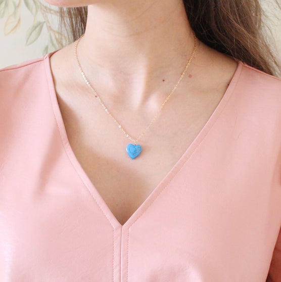 Heart Necklace, Turquoise