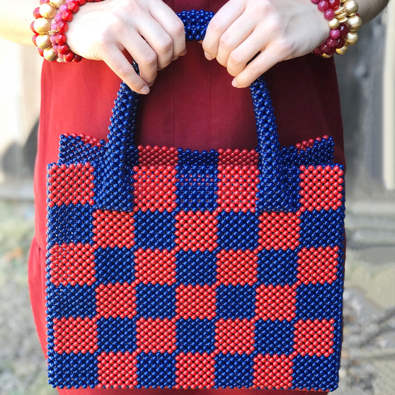 Katherine Handbag, Red and Navy Checkered