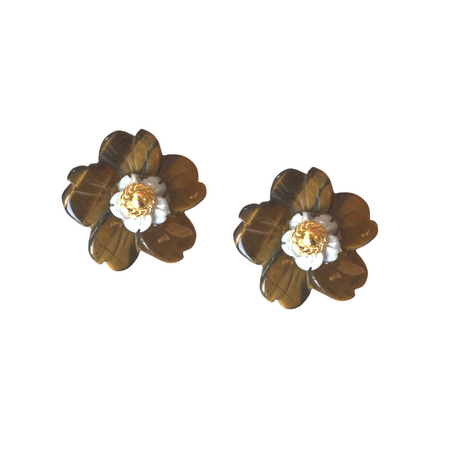 Azalea Earring, Tiger Eye