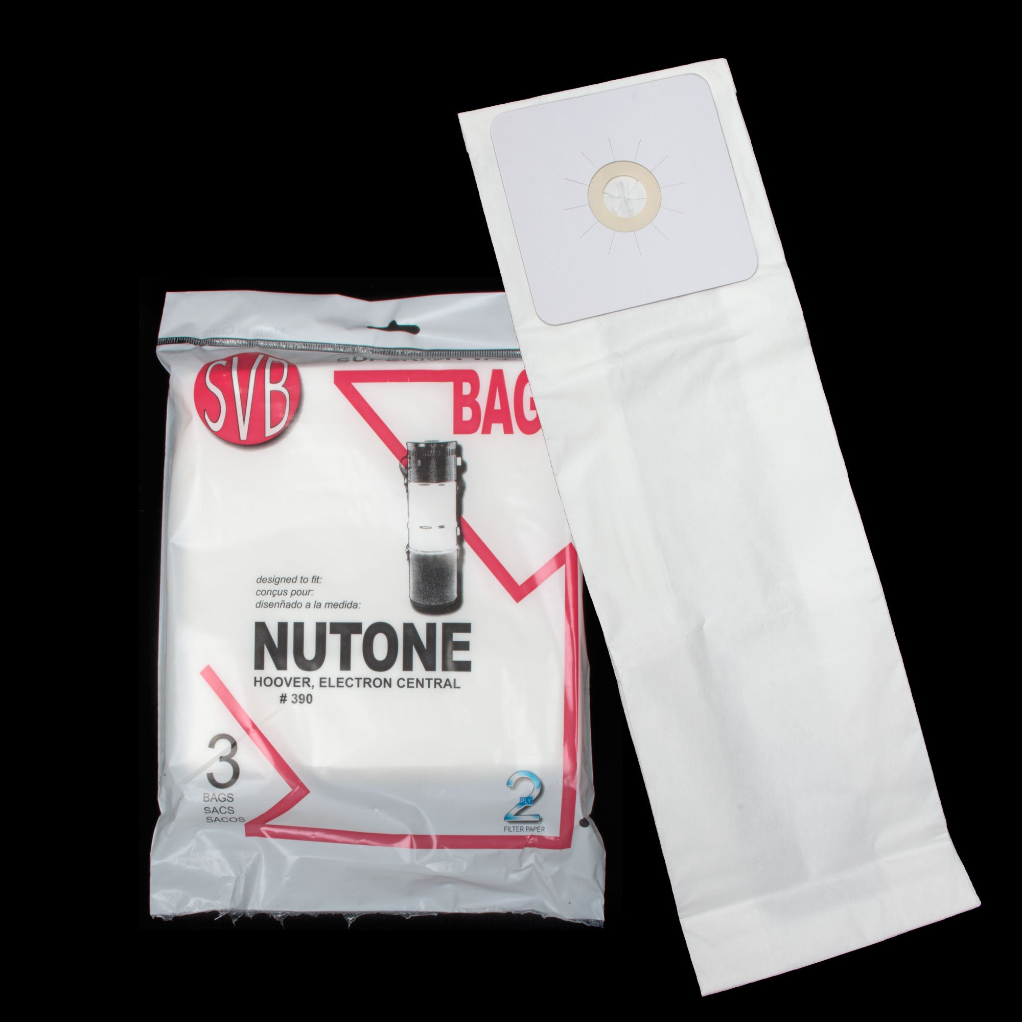 BA390 NUTONE BROAN ELECTRON SC190 SC300 SC600 CENTRAL POWERFLITE UPRIGHT HOOVER PAPER BAG 3 PACK CX450