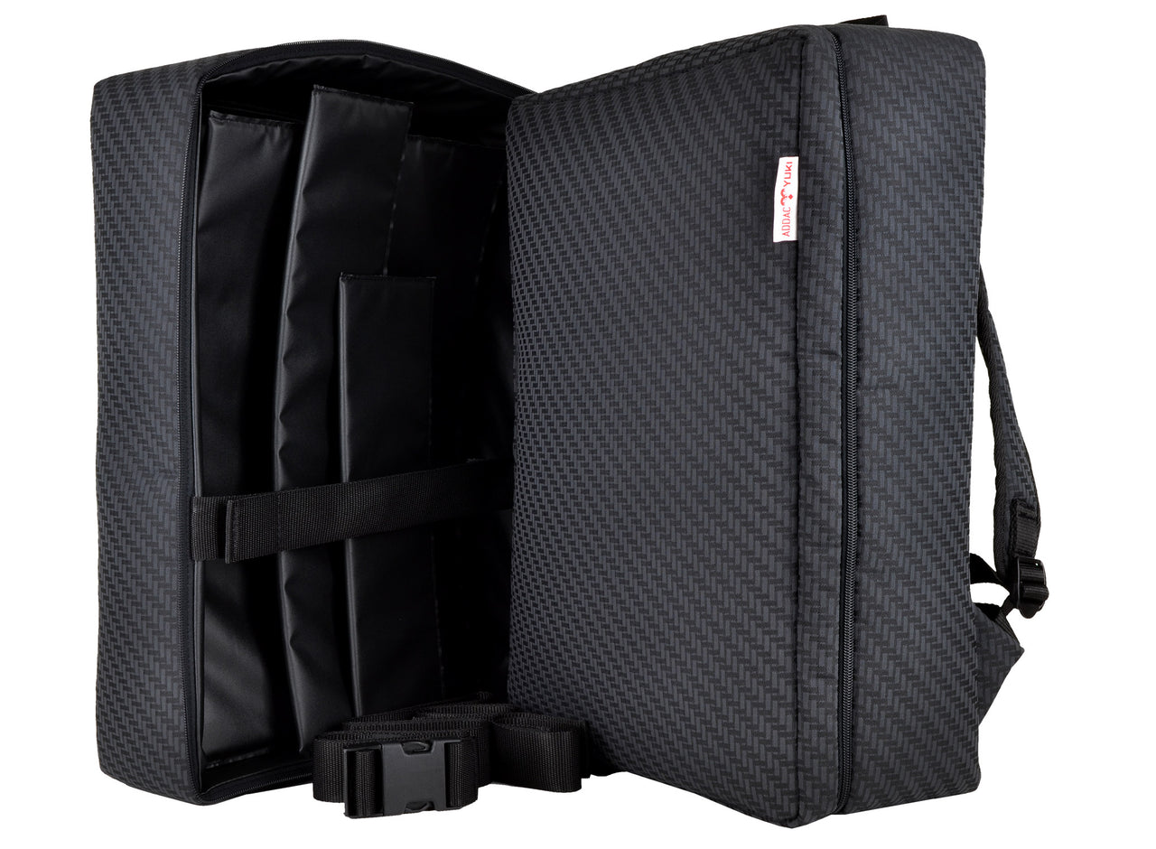 YUKI bags SO-NO-RO for addac system modular backpack for modular synthesizers made of surplus car upholstery.