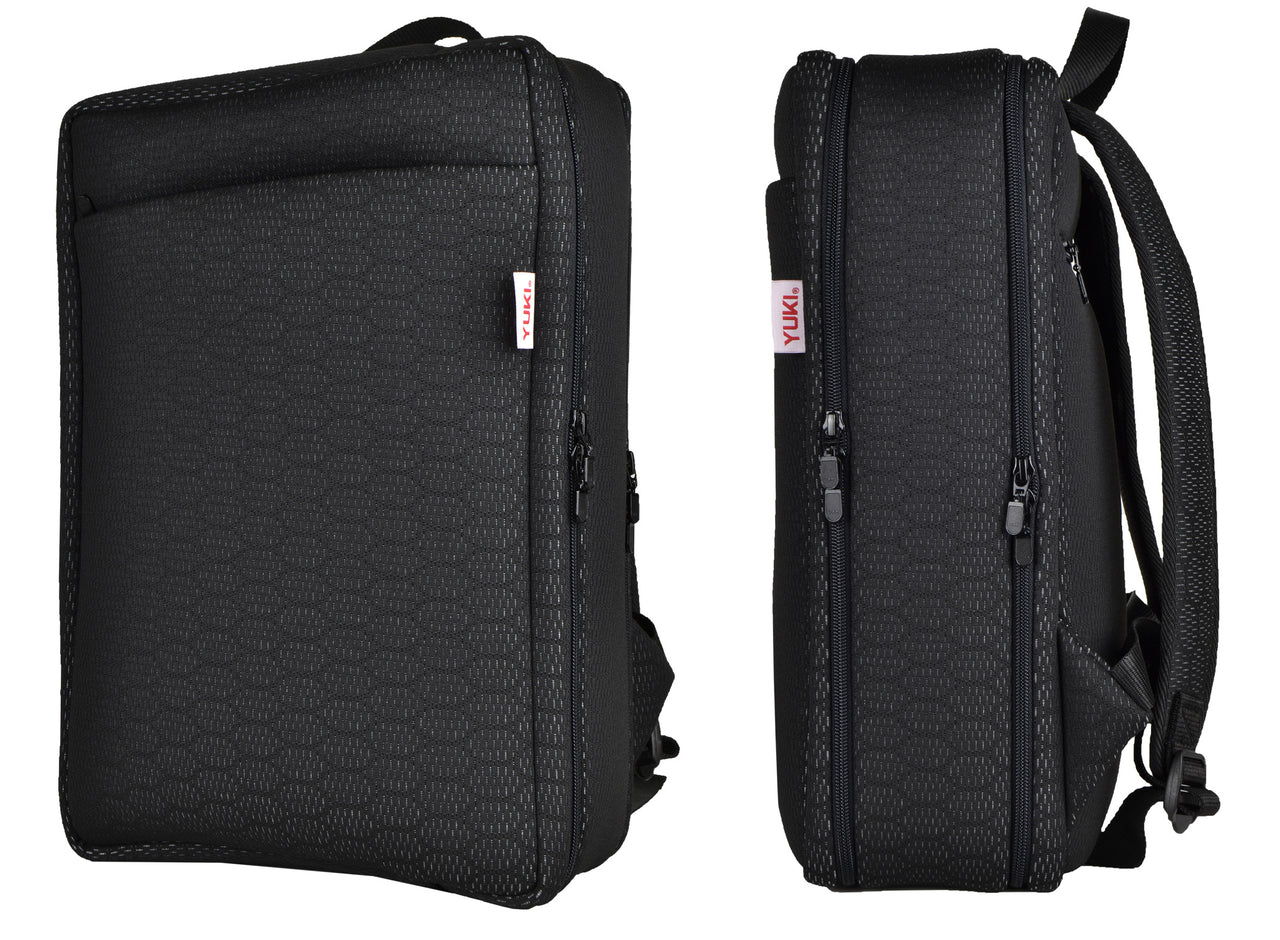 COMBOLAP ADR laptop backpack smoothly combines functionality, comfort and style. This lightweight and durable backpack has one large main compartment, a padded laptop compartment and an external pocket with zippered side entries so you can swing the bag off one shoulder and access very easily to all compartments. This spacious backpack can accommodate a laptop, power cables, accessories, clothes and anything else you'll need to carry. That way you can combine work and play. YUKI bags