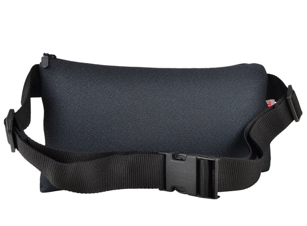 NIGHT AND DAY waist bag made of surplus car upholstery fabric - YUKI bags. Whether you wear it in the front, back or askew, this versatile, compact and spacious waist bag allows you to move freely and comfortable while your hands remain free.