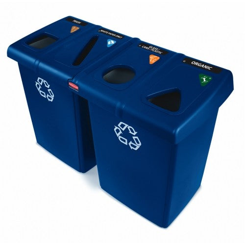 Rubbermaid Glutton 384 Litre Recycling Station - Blue - 1792372