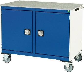 Bott Cubio 1050mm Wide x 525mm Deep Maintenance Trolley with Two Cupboards - 525mm Wide Cupboards/Drawers - Lino Worktop - 885mm High - 41006002.11V