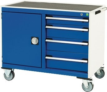 Bott Cubio 1050mm Wide x 525mm Deep Maintenance Trolley with Four Drawers and One Cupboards - 525mm Wide Cupboards/Drawers - Top Tray - 880mm High - 41006006.11V