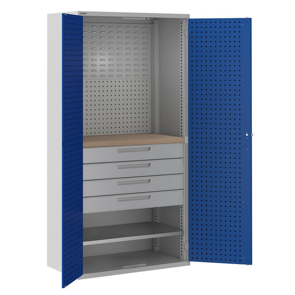 Bisley ToolStor Industrial 1 Shelf & 4 Drawer Multi Storage Cupboard - BIS405257W
