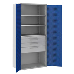 Bisley ToolStor Industrial 3 Shelf & 4 Drawer Kitted Cupboard - BIS406231W