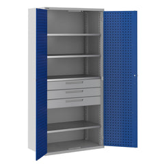 Bisley ToolStor Industrial 4 Shelf & 3 Drawer Kitted Cupboard - BIS406243W
