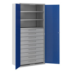 Bisley ToolStor Industrial 3 Shelf & 9 Drawer Kitted Cupboard - BIS406247W