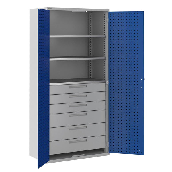 Bisley ToolStor Industrial 3 Shelf & 6 Drawer Kitted Cupboard - BIS406249W