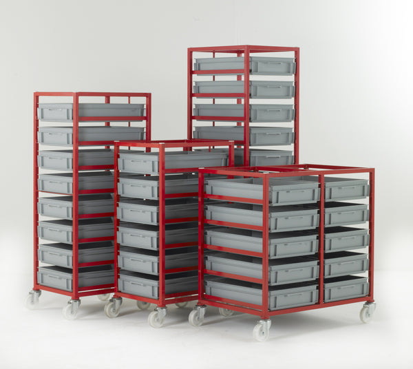 Work Gear Euro 120mm High Red Mobile Tray Racks - CT405 - CT410