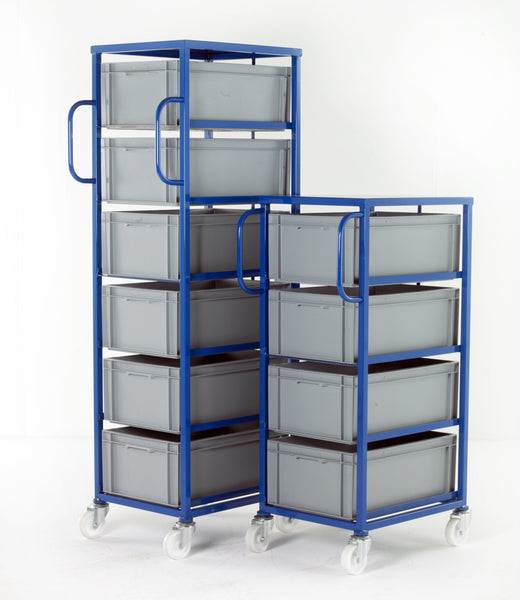 Work Gear Euro 235mm High Blue Mobile Tray Racks - CT604 - CT606