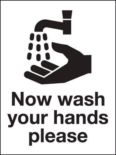 200x150mm Now wash your hands please - Self Adhesive - HG14/S